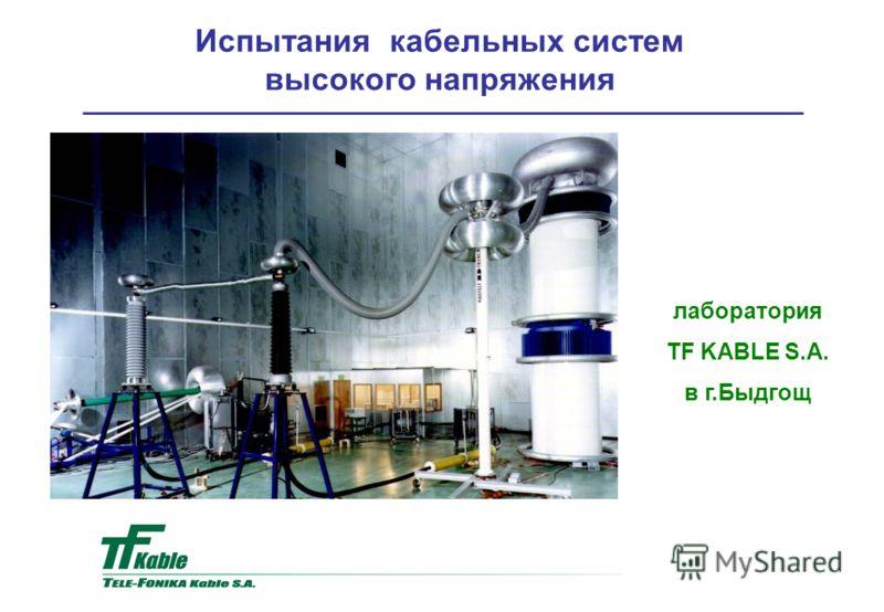 Испытания кабельных систем высокого напряжения лаборатория TF KABLE S.A. в г.Быдгощ