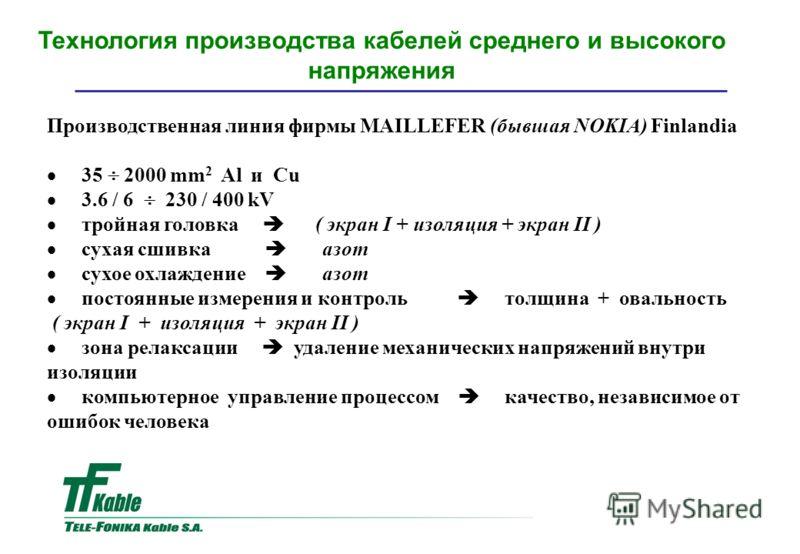 Производственная линия фирмы MAILLEFER (бывшая NOKIA) Finlandia 35 2000 mm 2 Al и Cu 3.6 / 6 230 / 400 kV тройная головка ( экран I + изоляция + экран II ) сухая сшивка азот сухое охлаждение aзот постоянные измерения и контроль толщина + овальность (