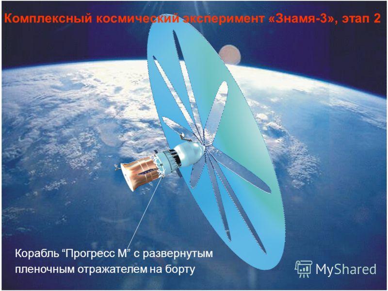 Корабль Прогресс М с развернутым пленочным отражателем на борту Комплексный космический эксперимент «Знамя-3», этап 2