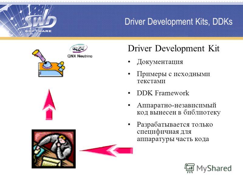 Driver Development Kits, DDKs Driver Development Kit Документация Примеры с исходными текстами DDK Framework Аппаратно-независимый код вынесен в библиотеку Разрабатывается только специфичная для аппаратуры часть кода