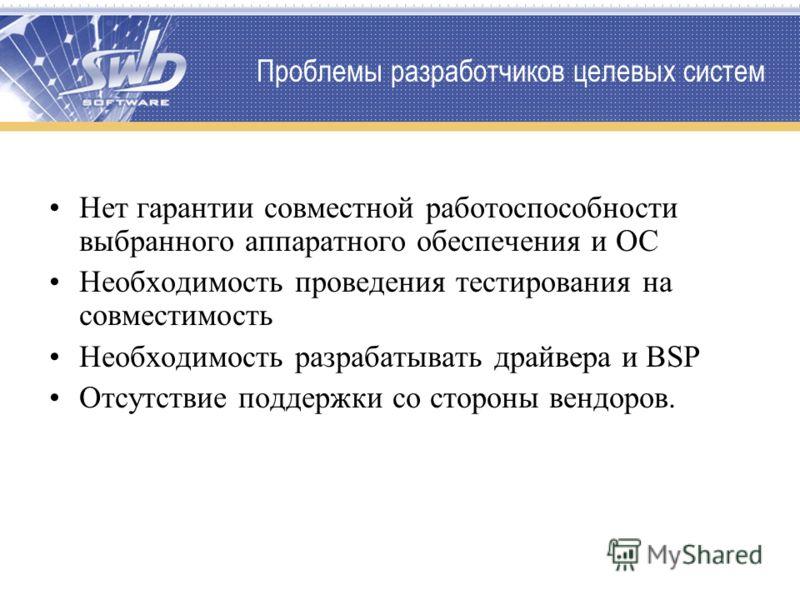 Проблемы разработчиков целевых систем Нет гарантии совместной работоспособности выбранного аппаратного обеспечения и ОС Необходимость проведения тестирования на совместимость Необходимость разрабатывать драйвера и BSP Отсутствие поддержки со стороны