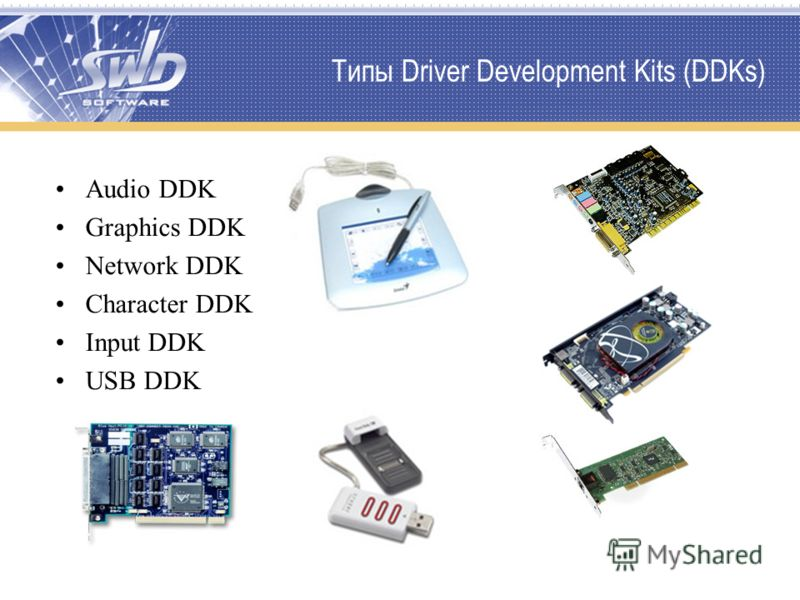 Типы Driver Development Kits (DDKs) Audio DDK Graphics DDK Network DDK Character DDK Input DDK USB DDK