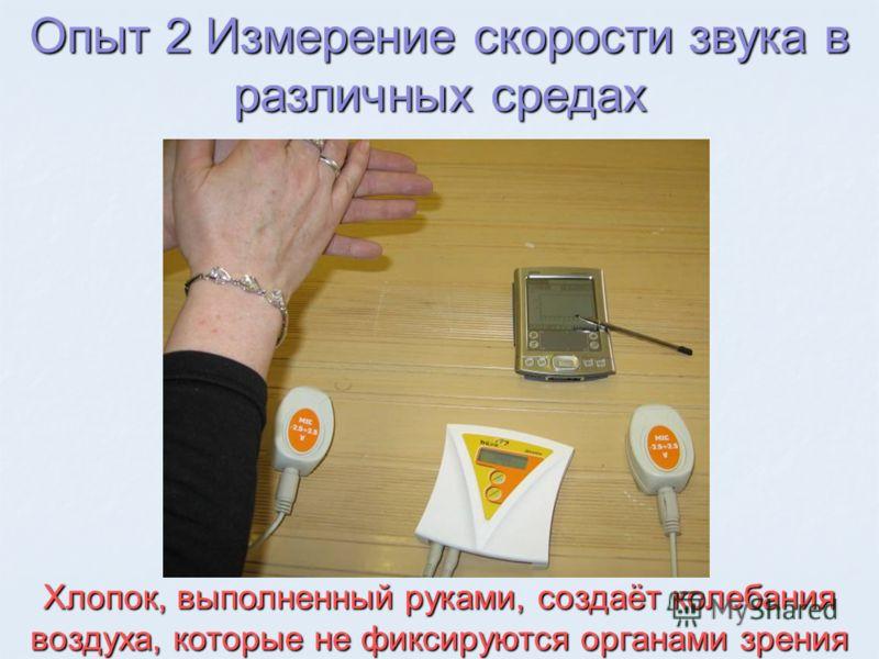 Хлопок, выполненный руками, создаёт колебания воздуха, которые не фиксируются органами зрения Опыт 2 Измерение скорости звука в различных средах
