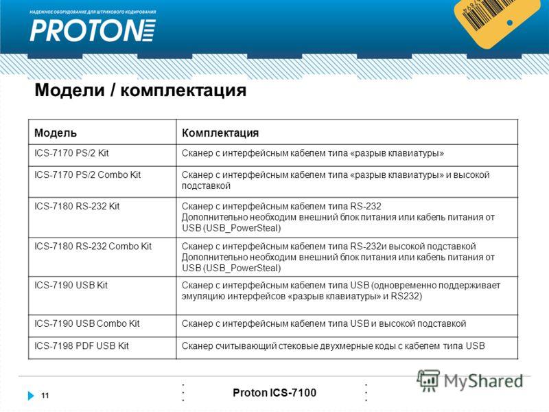 11 Proton ICS-7100 Модели / комплектация МодельКомплектация ICS-7170 PS/2 KitСканер с интерфейсным кабелем типа «разрыв клавиатуры» ICS-7170 PS/2 Combo KitСканер с интерфейсным кабелем типа «разрыв клавиатуры» и высокой подставкой ICS-7180 RS-232 Kit