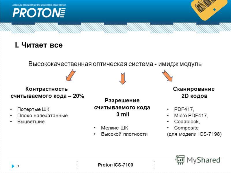 3 Proton ICS-7100 I. Читает все Высококачественная оптическая система - имидж модуль Контрастность считываемого кода – 20% Потертые ШК Плохо напечатанные Выцветшие Разрешение считываемого кода 3 mil Мелкие ШК Высокой плотности Сканирование 2D кодов P
