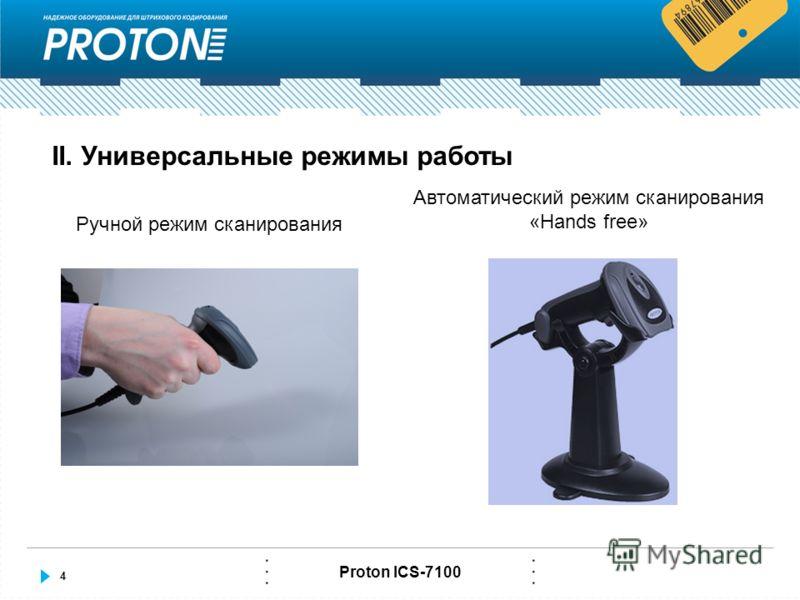 4 Proton ICS-7100 II. Универсальные режимы работы Ручной режим сканирования Автоматический режим сканирования «Hands free»