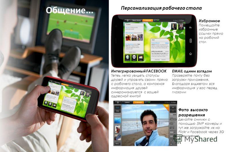 Общение... Фото высокго разрешения Делайте снимки с помощью 5MP камеры и тут же загружайте их на Flickr и Facebook через 3G соединение EMAIL одним взгядом Проверяйте почту без загрузки приложения. Благодаря виджетам вся информация у вас перед глазами