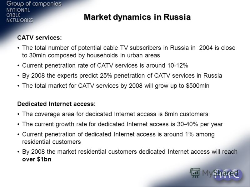 Slide 4 Market dynamics in Russia CATV services: The total number of potential cable TV subscribers in Russia in 2004 is close to 30mln composed by households in urban areas Current penetration rate of CATV services is around 10-12% By 2008 the exper