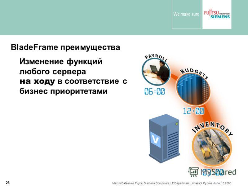 Maxim Datsenko. Fujitsu Siemens Computers. LE Department. Limassol, Cyprus June, 10.2006 28 BladeFrame преимущества Изменение функций любого сервера на ходу в соответствие с бизнес приоритетами