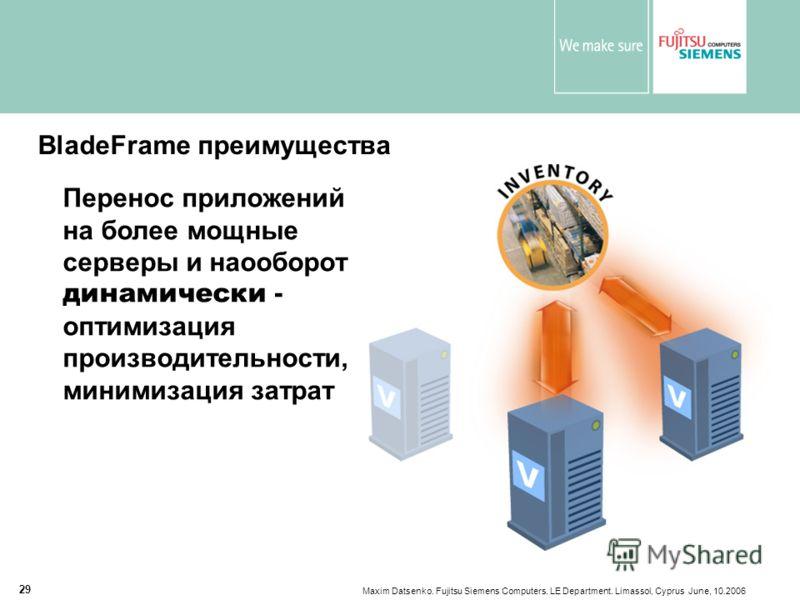 Maxim Datsenko. Fujitsu Siemens Computers. LE Department. Limassol, Cyprus June, 10.2006 29 BladeFrame преимущества Перенос приложений на более мощные серверы и наооборот динамически - оптимизация производительности, минимизация затрат