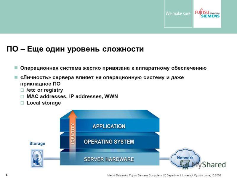 Maxim Datsenko. Fujitsu Siemens Computers. LE Department. Limassol, Cyprus June, 10.2006 4 ПО – Еще один уровень сложности Операционная система жестко привязана к аппаратному обеспечению «Личность» сервера влияет на операционную систему и даже прикла