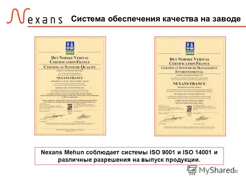 22 Nexans Mehun соблюдает системы ISO 9001 и ISO 14001 и различные разрешения на выпуск продукции. Система обеспечения качества на заводе