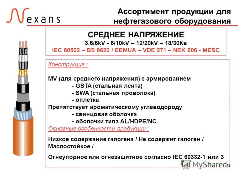 34 Ассортимент продукции для нефтегазового оборудования СРЕДНЕЕ НАПРЯЖЕНИЕ 3.6/6kV - 6/10kV – 12/20kV – 18/30Кв IEC 60502 – BS 6622 / EEMUA – VDE 271 – NEK 606 - MESC Конструкция : MV (для среднего напряжения) с армированием - GSTA (стальная лента) -