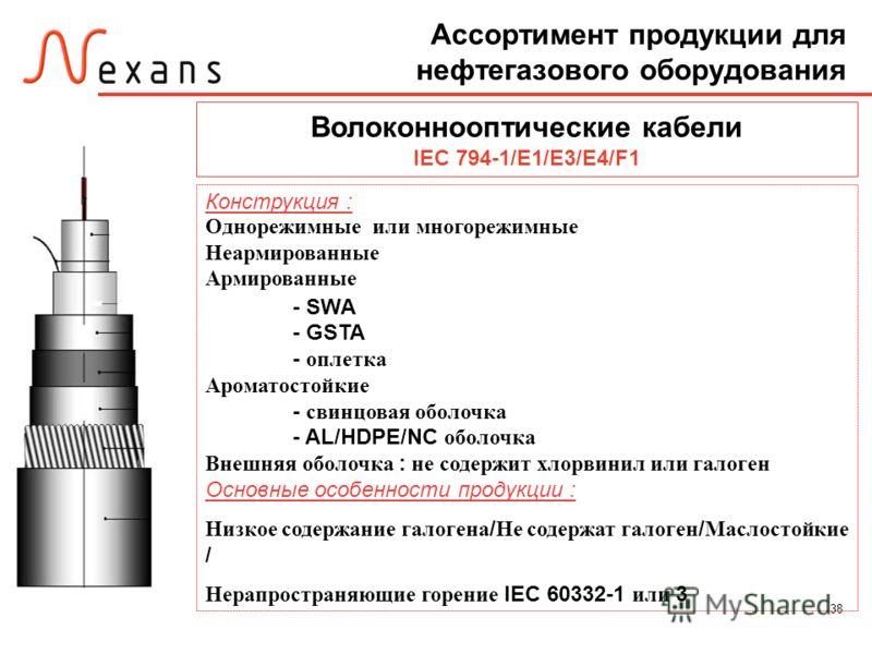 38 Волоконнооптические кабели IEC 794-1/E1/E3/E4/F1 Конструкция : Однорежимные или многорежимные Неармированные Армированные - SWA - GSTA - оплетка Ароматостойкие - свинцовая оболочка - AL/HDPE/NC оболочка Внешняя оболочка : не содержит хлорвинил или