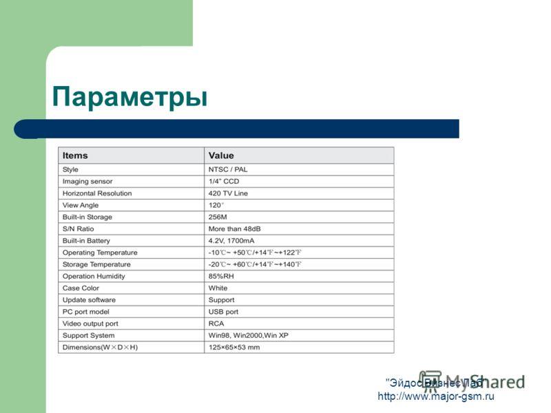 Эйдос Бизнес Лаб http://www.major-gsm.ru Параметры
