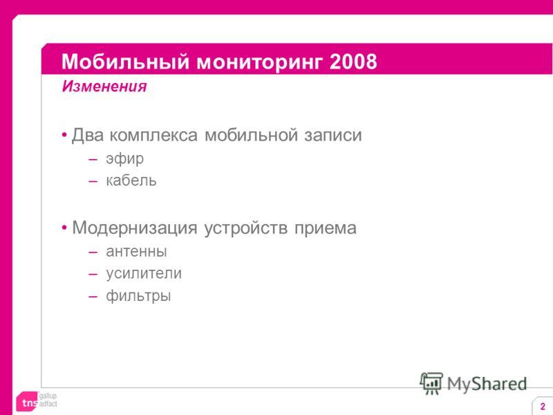 2 Два комплекса мобильной записи –эфир –кабель Модернизация устройств приема –антенны –усилители –фильтры Мобильный мониторинг 2008 Изменения