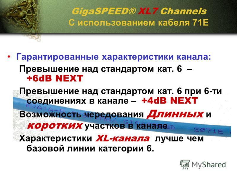 GigaSPEED® XL7 Channels С использованием кабеля 71Е Гарантированные характеристики канала: Превышение над стандартом кат. 6 – +6dB NEXT Превышение над стандартом кат. 6 при 6-ти соединениях в канале – +4dB NEXT Возможность чередования Длинных и корот
