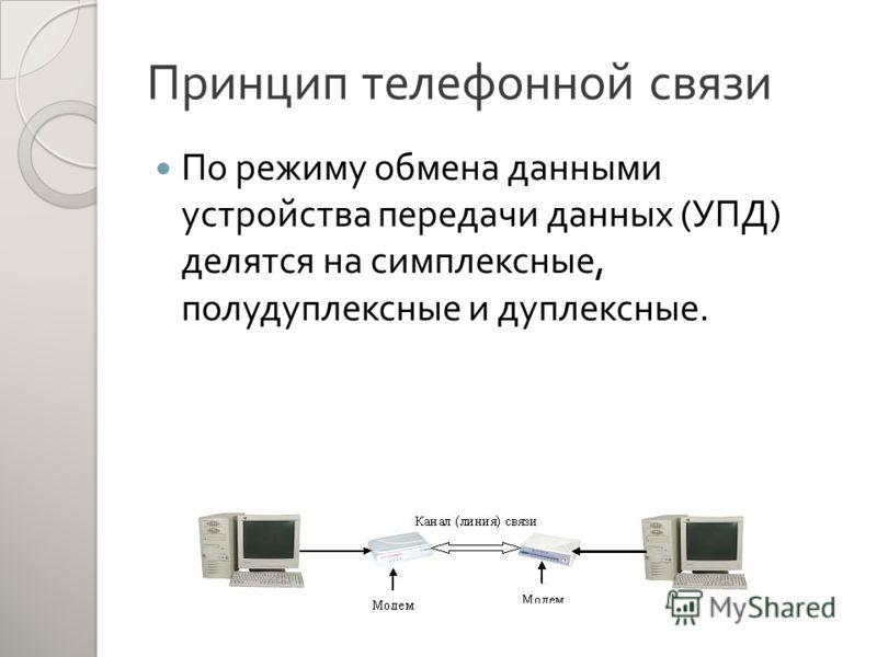Принцип телефонной связи По режиму обмена данными устройства передачи данных ( УПД ) делятся на симплексные, полудуплексные и дуплексные.