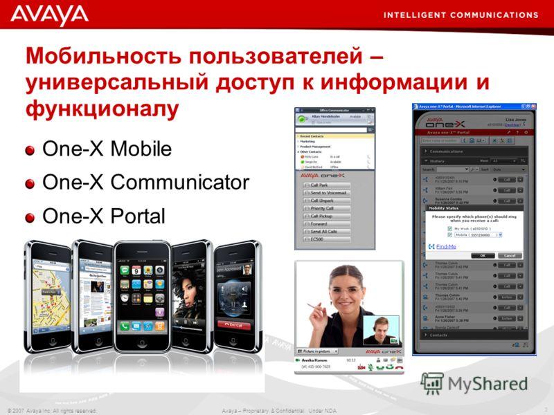 3 © 2007 Avaya Inc. All rights reserved. Avaya – Proprietary & Confidential. Under NDA Мобильность пользователей – универсальный доступ к информации и функционалу One-X Mobile One-X Communicator One-X Portal