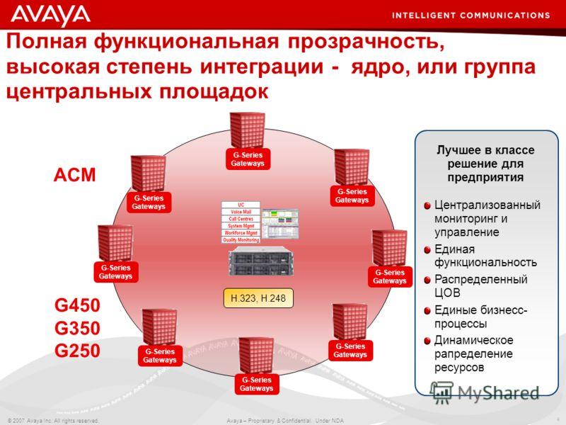 4 © 2007 Avaya Inc. All rights reserved. Avaya – Proprietary & Confidential. Under NDA G-Series Gateways Полная функциональная прозрачность, высокая степень интеграции - ядро, или группа центральных площадок H.323, H.248 Централизованный мониторинг и
