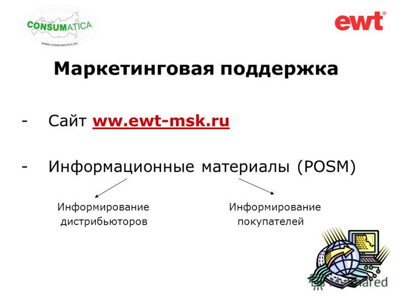 Маркетинговая поддержка -Сайт ww.ewt-msk.ru -Информационные материалы (POSM) Информирование Информирование дистрибьюторов покупателей