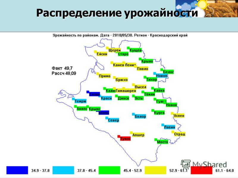 Семинар-совещание для агро - экспертов, 20 октября 2011, г. Москва 22 Распределение урожайности