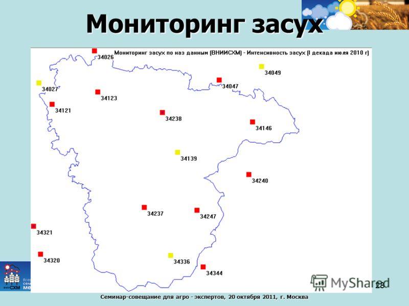Семинар-совещание для агро - экспертов, 20 октября 2011, г. Москва Мониторинг засух 28