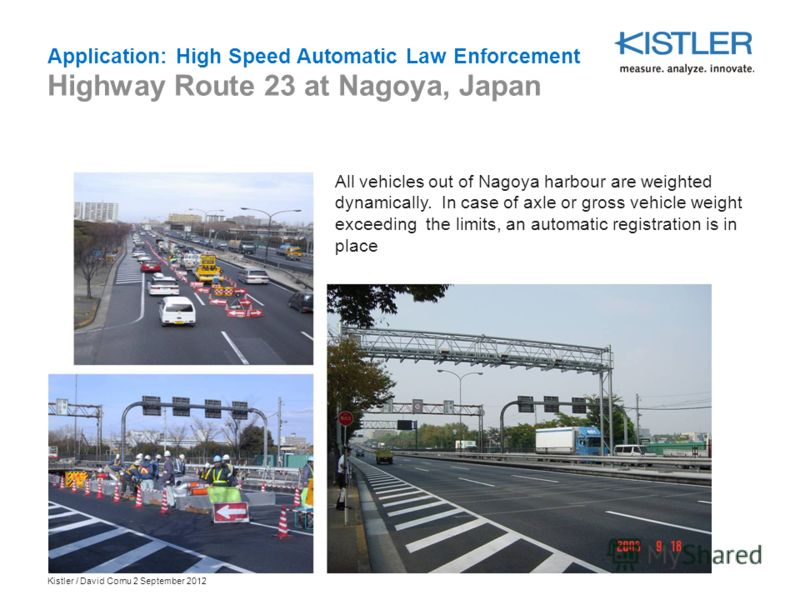 Kistler / David Cornu 2 September 2012 All vehicles out of Nagoya harbour are weighted dynamically. In case of axle or gross vehicle weight exceeding the limits, an automatic registration is in place Application: High Speed Automatic Law Enforcement