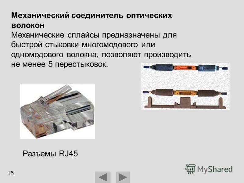 Механический соединитель оптических волокон Механические сплайсы предназначены для быстрой стыковки многомодового или одномодового волокна, позволяют производить не менее 5 перестыковок. Разъемы RJ45 15