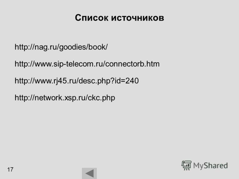 Список источников http://nag.ru/goodies/book/ http://www.rj45.ru/desc.php?id=240 http://www.sip-telecom.ru/connectorb.htm http://network.xsp.ru/ckc.php 17