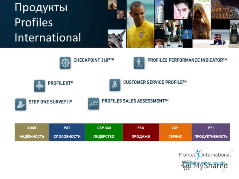 Продукты Profiles International 7 SOSII НАДЁЖНОСТЬ PXT СПОСОБНОСТИ CKP 360 ЛИДЕРСТВО PSA ПРОДАЖИ CSP СЕРВИС PPI ПРОДУКТИВНОСТЬ