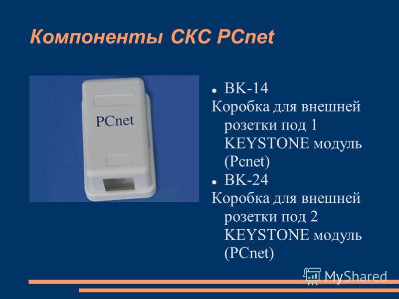 Компоненты СКС PCnet BK-14 Коробка для внешней розетки под 1 KEYSTONE модуль (Pcnet) BK-24 Коробка для внешней розетки под 2 KEYSTONE модуль (PCnet)