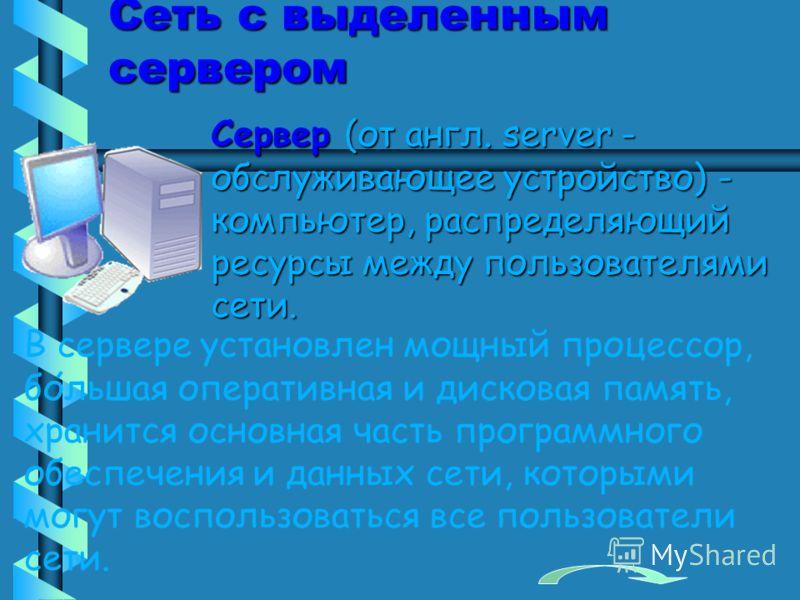 Сеть с выделенным сервером Сервер (от англ. server - обслуживающее устройство) - компьютер, распределяющий ресурсы между пользователями сети. В сервере установлен мощный процессор, большая оперативная и дисковая память, хранится основная часть програ
