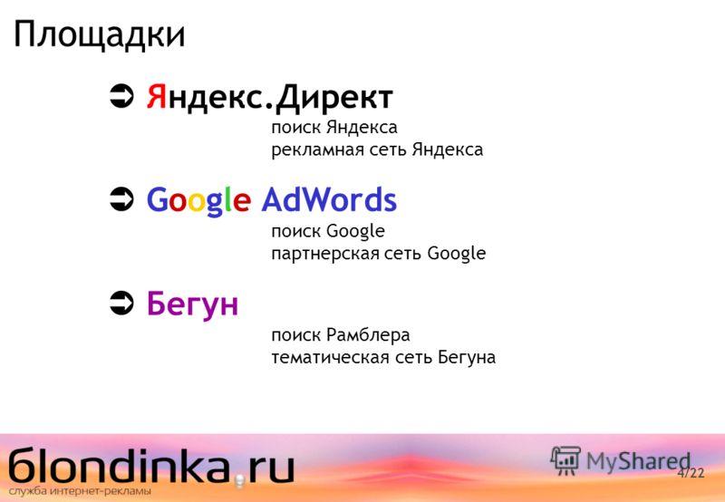 4/22 Площадки Яндекс.Директ поиск Яндекса рекламная сеть Яндекса Google AdWords поиск Google партнерская сеть Google Бегун поиск Рамблера тематическая сеть Бегуна