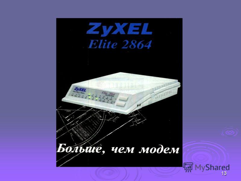 12 Модем Модем Модем – устройство, производящее модуляцию (преобразование цифровых сигналов в аналоговые) и демодуляцию (преобразование аналоговых сигналов в цифровые).