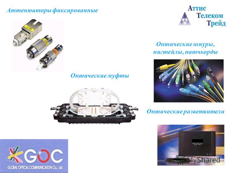 Аттенюаторы фиксированные Оптические шнуры, пигтейлы, патчкорды Оптические разветвители Оптические муфты
