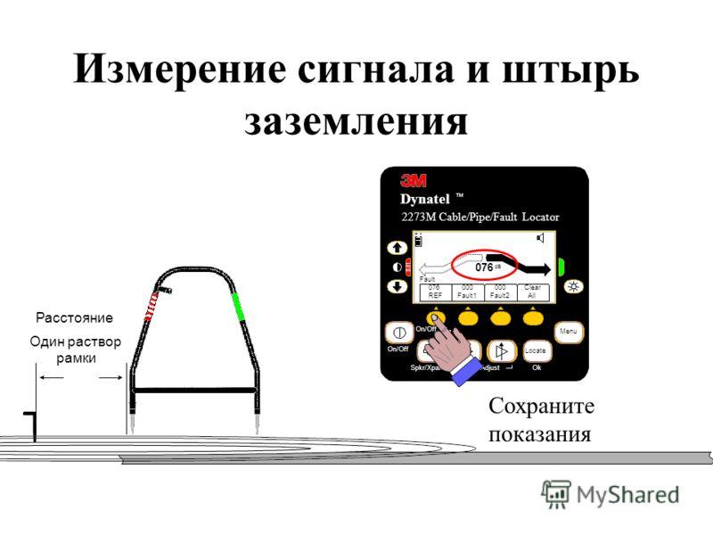 Измерение сигнала и штырь заземления Расстояние Один раствор рамки Spkr/Xpand On/Off Сохраните показания