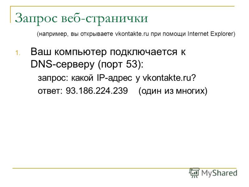 Запрос веб-странички 1. Ваш компьютер подключается к DNS-серверу (порт 53): запрос: какой IP-адрес у vkontakte.ru? ответ: 93.186.224.239 (один из многих) (например, вы открываете vkontakte.ru при помощи Internet Explorer)