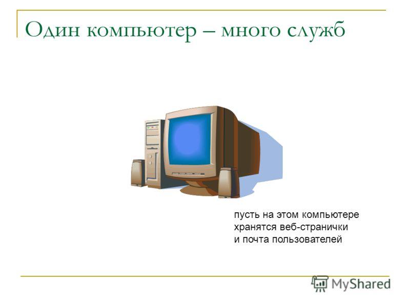 Один компьютер – много служб пусть на этом компьютере хранятся веб-странички и почта пользователей