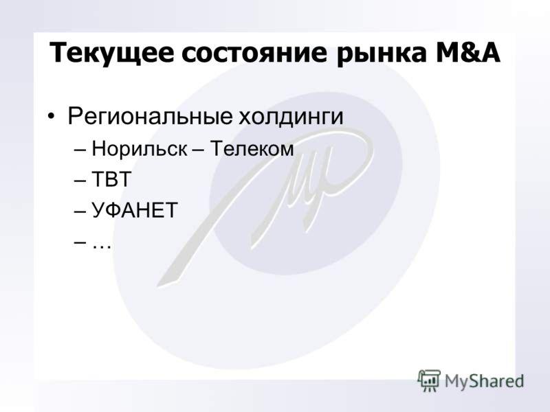 Текущее состояние рынка M&A Региональные холдинги –Норильск – Телеком –ТВТ –УФАНЕТ –…–…
