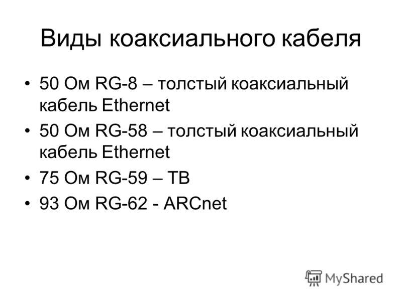 Виды коаксиального кабеля 50 Ом RG-8 – толстый коаксиальный кабель Ethernet 50 Ом RG-58 – толстый коаксиальный кабель Ethernet 75 Ом RG-59 – ТВ 93 Ом RG-62 - ARCnet