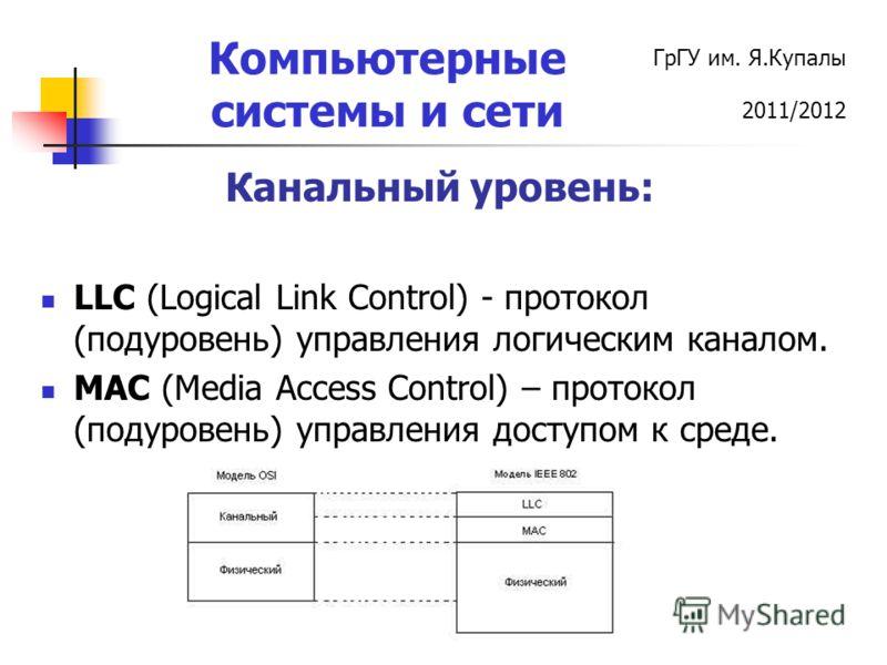 ГрГУ им. Я.Купалы 2011/2012 Компьютерные системы и сети Канальный уровень: LLC (Logical Link Control) - протокол (подуровень) управления логическим каналом. MAC (Media Access Control) – протокол (подуровень) управления доступом к среде.