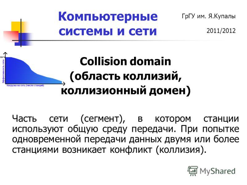ГрГУ им. Я.Купалы 2011/2012 Компьютерные системы и сети Collision domain (область коллизий, коллизионный домен) Часть сети (сегмент), в котором станции используют общую среду передачи. При попытке одновременной передачи данных двумя или более станция