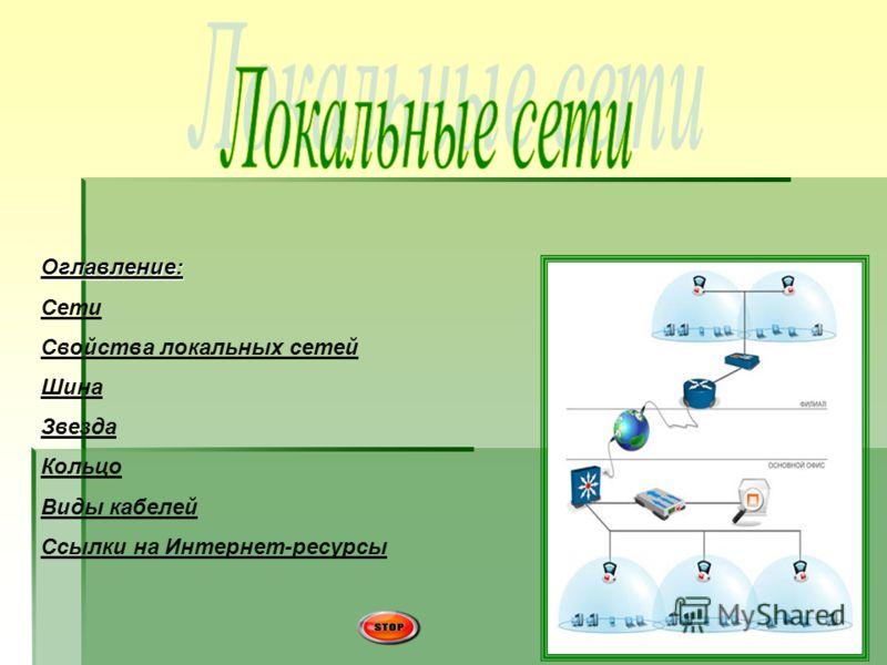 Оглавление: Сети Свойства локальных сетей Шина Звезда Кольцо Виды кабелей Ссылки на Интернет-ресурсы