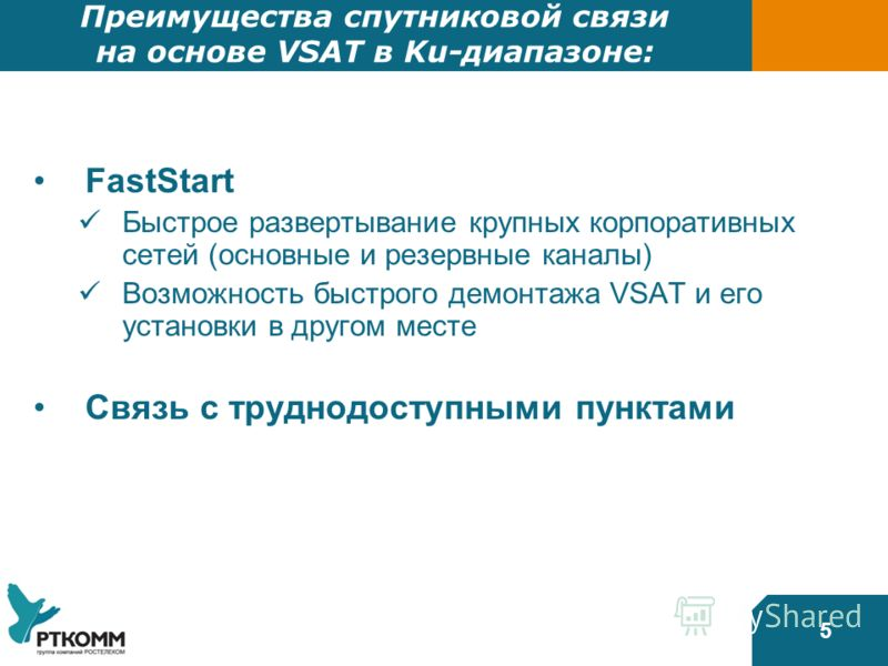 5 Преимущества спутниковой связи на основе VSAT в Ku-диапазоне: FastStart Быстрое развертывание крупных корпоративных сетей (основные и резервные каналы) Возможность быстрого демонтажа VSAT и его установки в другом месте Связь с труднодоступными пунк