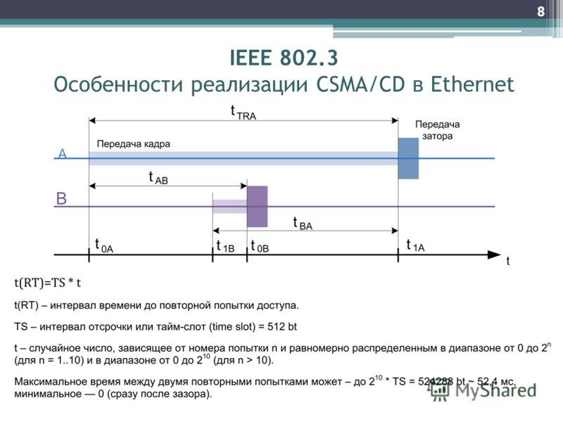 8 IEEE 802.3 Особенности реализации CSMA/CD в Ethernet
