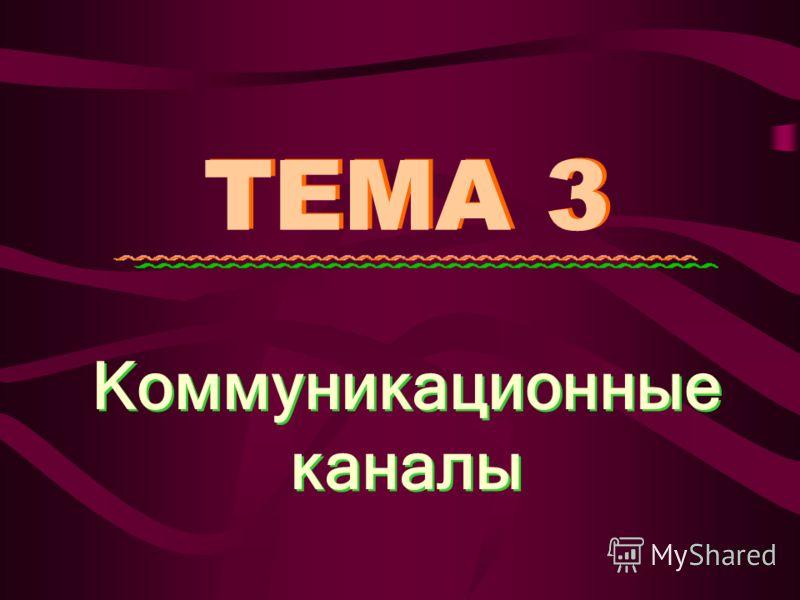 ТЕМА 3 Коммуникационные каналы Коммуникационные каналы