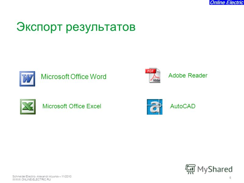 Schneider Electric 6 - Alexandr Alyunov – 11/2010 WWW.ONLINE-ELECTRIC.RU Microsoft Office Word Microsoft Office ExcelAutoCAD Adobe Reader Экспорт результатов