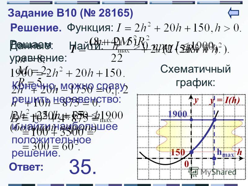 y = I(h) y h 0 150150 и найти наибольшее положительное решение. Решение. Данные: Функция: Найти: Схематичный график: 1900 h max Решаем уравнение: Ответ: 35. Конечно, можно сразу решить неравенство: Задание B10 ( 28165)