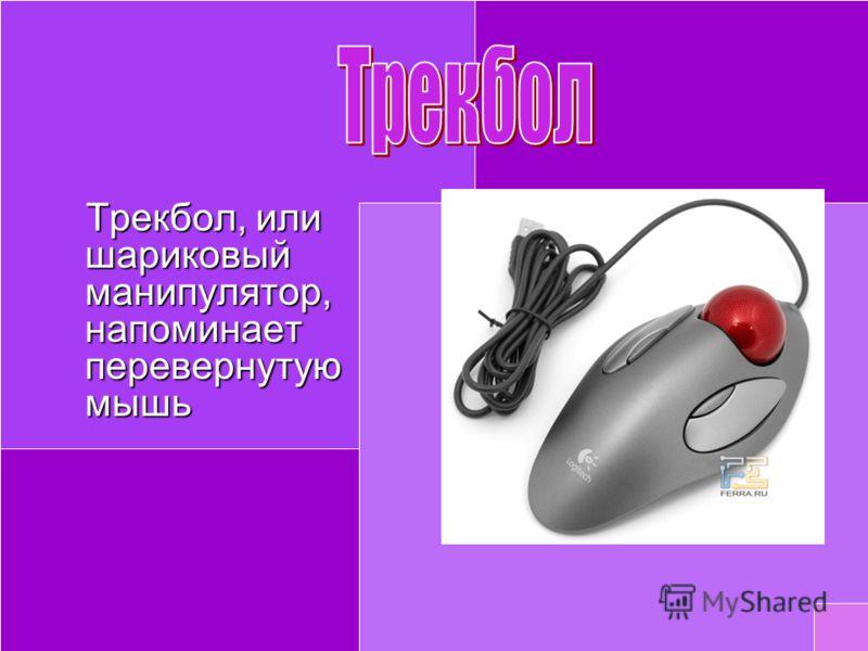 Трекбол, или шариковый манипулятор, напоминает перевернутую мышь Трекбол, или шариковый манипулятор, напоминает перевернутую мышь